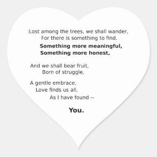 Recuerdos encantadores pegatina en forma de corazón