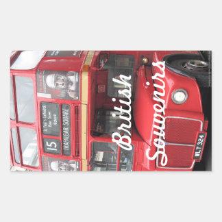 Recuerdos rojos de Británicos del autobús de Pegatina Rectangular