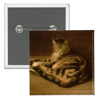Recumbent Cat, 1898 Pinback Button