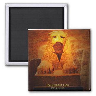 recumbent lion 2 inch square magnet