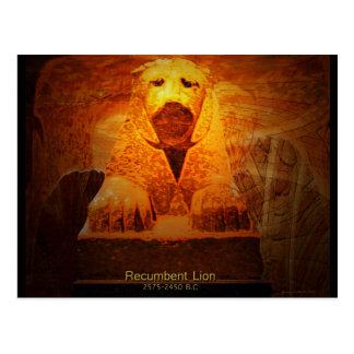 recumbent lion postcard