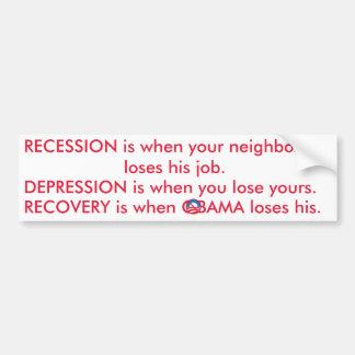 Recuperación de la depresión de la recesión etiqueta de parachoque