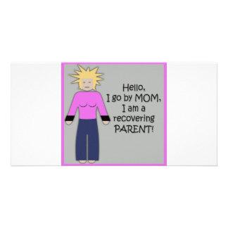 Recuperación de rosa de la mamá tarjetas personales