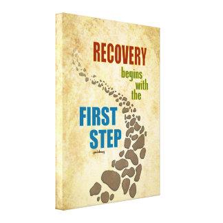 Recuperación, el primer paso (el paso 12, droga impresiones en lona estiradas
