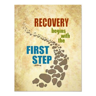 """Recuperación, el primer paso (el paso 12, droga invitación 4.25"""" x 5.5"""""""