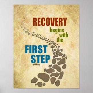 Recuperación, el primer paso (el paso 12, droga póster