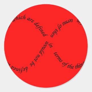 recursion through negation classic round sticker