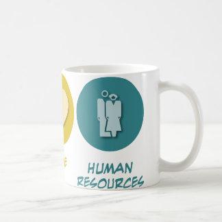 Recursos humanos del amor de la paz taza de café