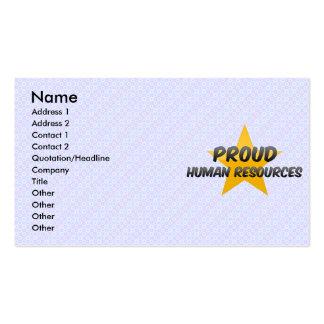 Recursos humanos orgullosos tarjetas de visita