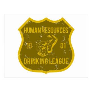 Recursos humanos que beben a la liga tarjeta postal