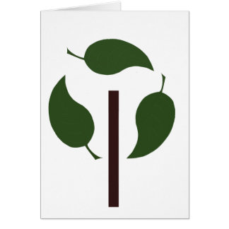 recyc tree with 3 large leaves card
