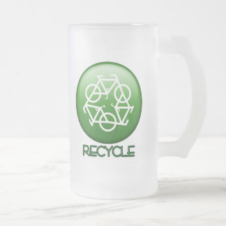 RECYCLE 16 OZ FROSTED GLASS BEER MUG