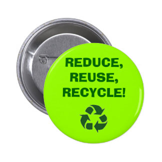 recycle%20sign_frame, REDUCE,REUSE,RECYCLE! Pinback Button