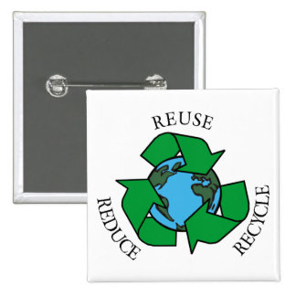 Recycle 2 Inch Square Button