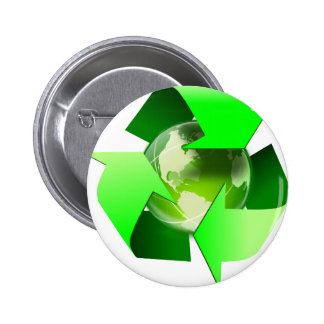 Recycle and save the world. pinback button