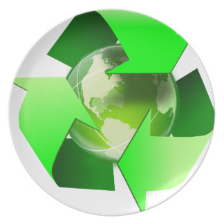 Recycle and save the world. plate