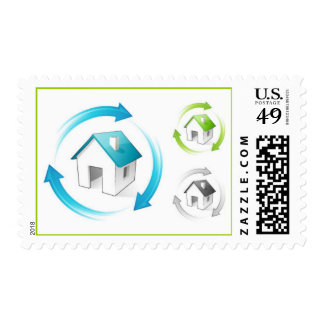 recycle-arrows-around-house1 postage stamps