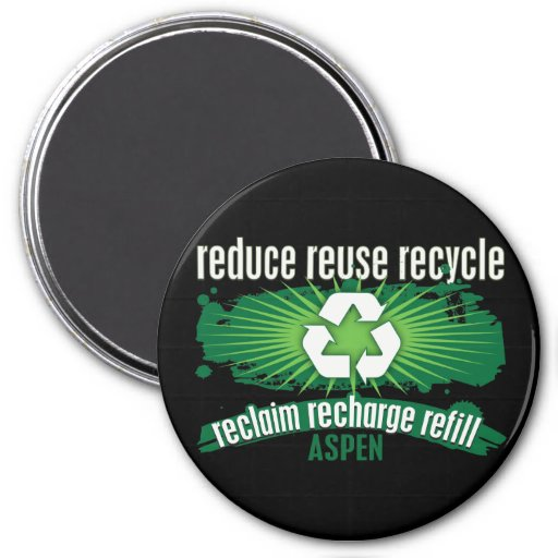Recycle Aspen 3 Inch Round Magnet
