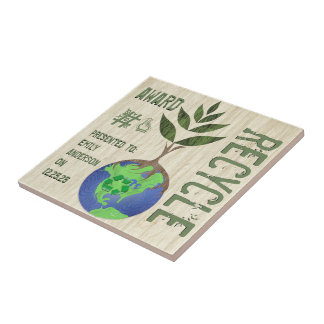 Recycle Award Tree Earth Globe Wood Grain Small Square Tile