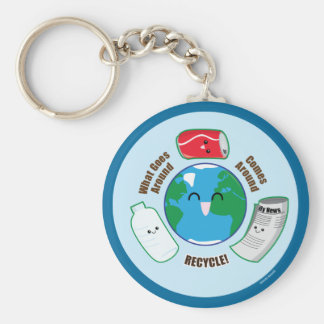 Recycle Basic Round Button Keychain