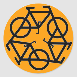 Recycle Bicycle Logo Symbol Round Sticker