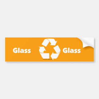 Recycle bin labels for glass with recycle symbol. bumper sticker