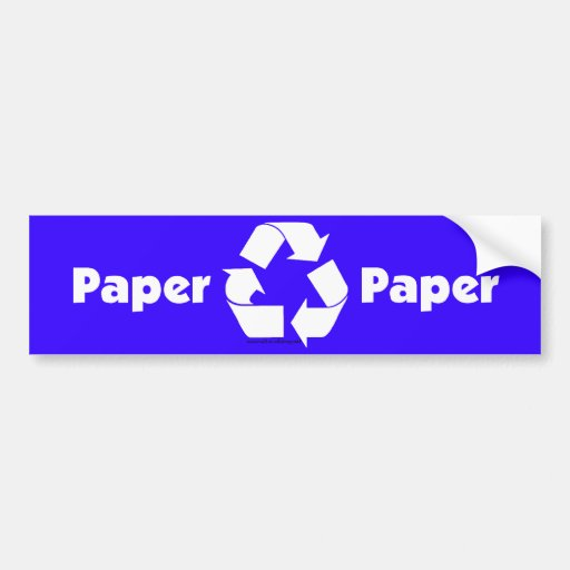 Recycle bin labels for paper with recycle symbol. bumper stickers