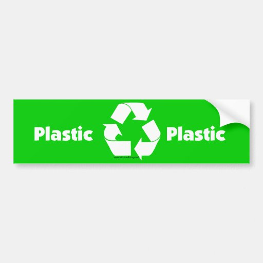 Recycle bin labels for plastic &  recycle symbol. bumper sticker