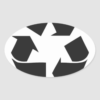 recycle black.jpg oval sticker
