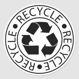 Recycle Black Logo Classic Round Sticker