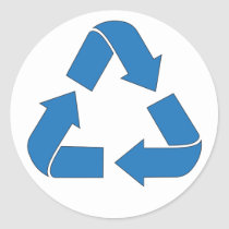 Recycle Blue Arrows Classic Round Sticker
