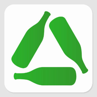 Recycle bottles square sticker