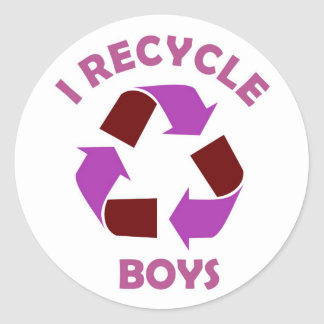 recycle boys funny text humor message pink classic round sticker