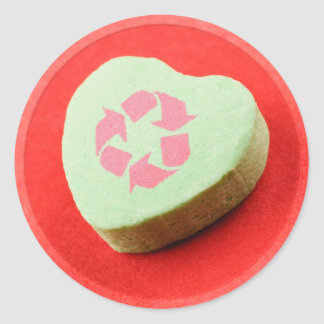 Recycle Candy Heart Classic Round Sticker