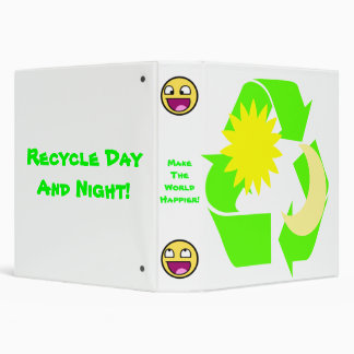Recycle Day and Night! 3 Ring Binder