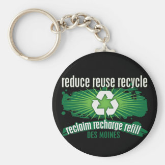 Recycle Des Moines Basic Round Button Keychain