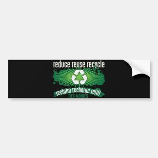 Recycle Des Moines Car Bumper Sticker