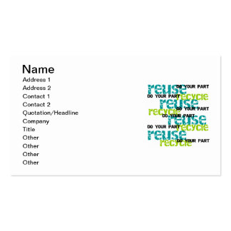 Recycle Do  Your Part T-shirts and Gifts Double-Sided Standard Business Cards (Pack Of 100)