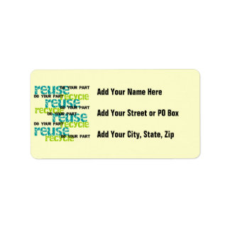 Recycle Do Your Part T-shirts and Gifts Personalized Address Labels