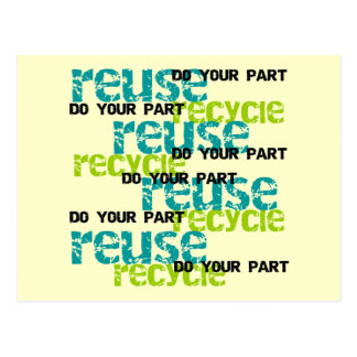 Recycle Do Your Part T shirts and Gifts Postcard