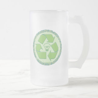 Recycle Earth Day Gear 16 Oz Frosted Glass Beer Mug