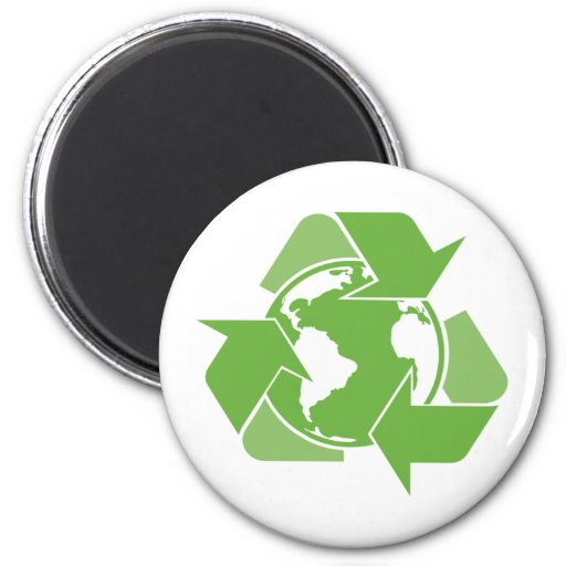 Recycle Earth Green 2 Inch Round Magnet