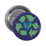 Recycle Earth Heart Button
