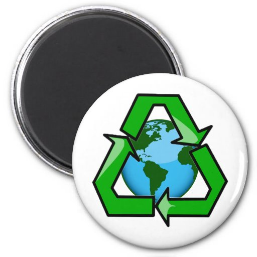RECYCLE EMBLEM WITH PLANET 2 INCH ROUND MAGNET