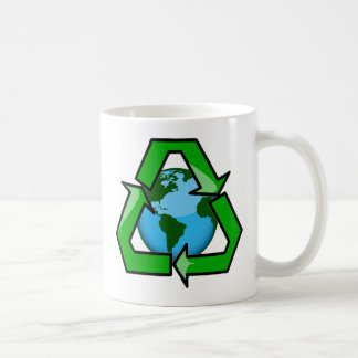 RECYCLE EMBLEM WITH PLANET COFFEE MUG