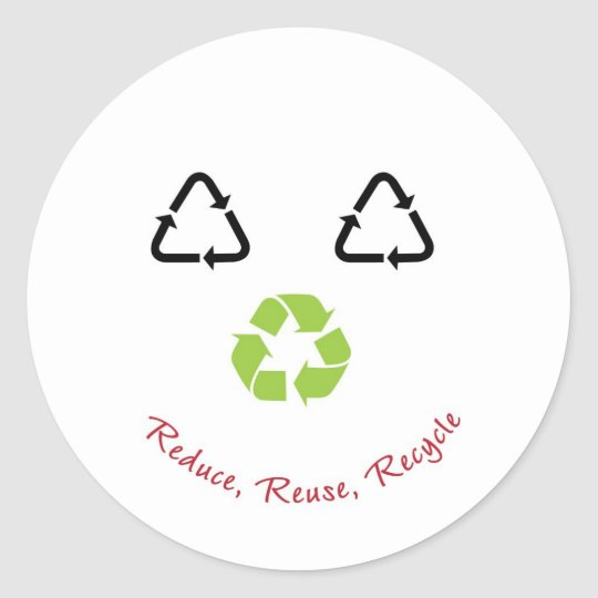 Recycle Face - red Classic Round Sticker