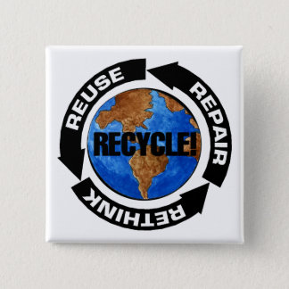 Recycle For Earth Day Pinback Button