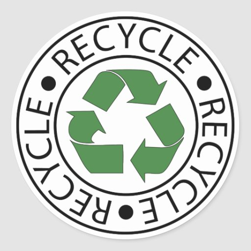 Recycle Green Center Logo Round Stickers