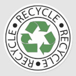 Recycle Green Ceter Logo Classic Round Sticker
