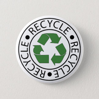 Recycle Green Ceter Logo Pinback Button